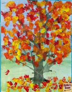 Friday Art Feature - Fall Trees - Different painting techniques - Multi-day Project - Watercolor background, straw blown trunk/branches, sponge leaves.