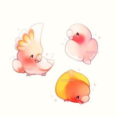Rosa Vögel - riders of icarus - Cute Kawaii Drawings, Kawaii Doodles, Cute Doodles, Cute Animal Drawings, Animal Sketches, Bird Drawings, Kawaii Art, Cute Animal Pictures, Composition Photo