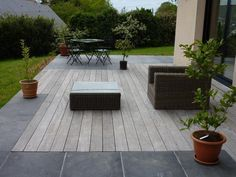 We offer natural stone floors and wooden terraces - Terrasse ideen Back Gardens, Outdoor Gardens, Patio Design, Garden Design, Stone Pavement, Wooden Terrace, Paving Stones, Concrete Patio, Backyard Patio