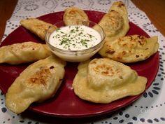 """Basic Herbed Potato Pierogi: Dough: 1 ¾ c flour  1 egg, beaten  dash of salt  ½ c water Filling: 1 large potato, in ½"""" cubes (2 c)  ½ onion, diced (½ c)  1 tsp parsley  ½ tsp thyme ¼ tsp salt  ⅛ tsp pepper"""