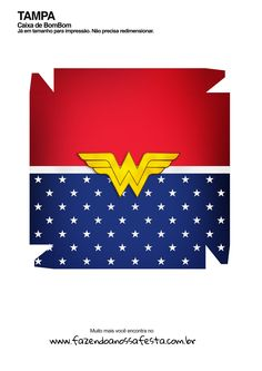 Caixa bombom Kit Presente Mae Maravilha Flag, Panda, Wonder Woman, Printables, Box Houses, Chocolate Box, Candy Boxes, Print Templates, Wonder Women