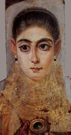 Fayum mummy portrait Portrait of young woman century C. Egyptian Mummies, Egyptian Art, Ancient Rome, Ancient Art, Post Mortem, Rome Antique, Roman Art, Archaeology, Fresco