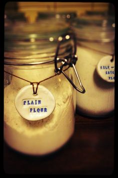 home made jar labels using air dry clay and letter stamps