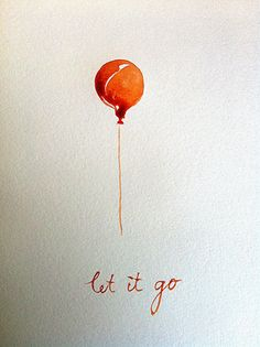 Let it go balloon watercolour postcard with by BarbaraLuel, €15.00