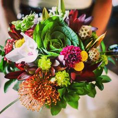 #bouquet#ramodenovia#wedding#boda#color#col#protea#orquídeas#astromelia#flowers# #Padgram