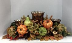 Fall candle gourd centerpiece Candle Arrangements, Fall Flower Arrangements, Fall Crafts, Decor Crafts, Fall Table Settings, Autumn Decorating, Mason Jar Gifts, Fall Candles, Fall Flowers