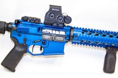 Blue Anodize AR15 style rifle , Assualt Rifle custom from Edward Arms Company in Phoenix Arizona. Custom Coated in Blue Anodize Mil-Spec takes on a whole new meaning