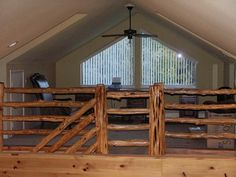 Rustic Loft Loft Railing, Rustic Loft, Loft Ideas, Log Cabins, Attic, Bunk Beds, Granite, Sweet Home, Decorating Ideas