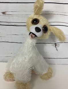 "Twisted Whiskers Big Eye Dog White Poseable Plush Stuffed 14"" American Greetings #TwistedWhiskers"