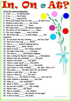 Thirty-five sentences for practicing the use of this prepositions. It may be used both for training and for a test. Key is included. English Grammar Exercises, Teaching English Grammar, English Worksheets For Kids, English Writing Skills, English Activities, English Language Learning, English Lessons, Vocabulary Activities, French Lessons