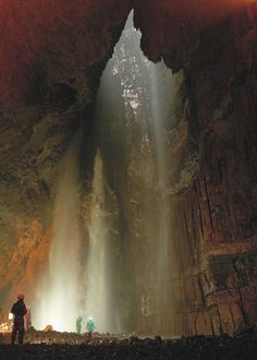 Bottom of Gaping Gill, Yorkshire.  Britain's highest unbroken waterfall plunges 328 ft into Gaping Gill, one of Britain's largest and most complex cave systems.