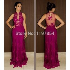 Find More Evening Dresses Information about Charming Fuchsia Appliques Lace Long Formal Evening Dress A Line High Neck See Through Back Evening Gown Pleat Party Gown,High Quality gowns maternity,China gown lingerie Suppliers, Cheap gown slip from Amanda's Dress House on Aliexpress.com