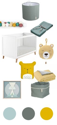 Babyzimmer_gelbjade Baby Bedroom, Baby Boy Rooms, Nursery Room, Kids Bedroom, Board For Kids, Maila, Baby Time, Kid Spaces, Children's Place