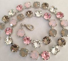 Swarovski crystal necklace  Greys pinks opals  not by MISWINGS, $65.00