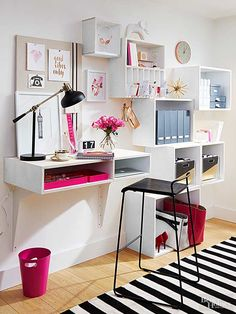 Conquer paperwork and everyday tasks by utilizing a single wall to create a functional yet fashionable home office space./