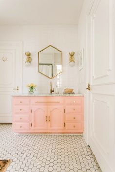 pink bathroom vanity diy bathroom decor Elsie Larson's Bold And Colorful Nashville Home Diy Bathroom Decor, Bathroom Styling, Bathroom Interior, Small Bathroom, Bathroom Black, Silver Bathroom, Design Bathroom, Bathroom Colors, Girl Bathroom Ideas