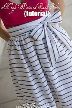 I really need to dig my sewing machine out of the closet... simple sash skirt tutorial