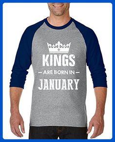 Ugo Kings Are Born in January Gift for Birthday Fathers Day Unisex Raglan Sleeve Baseball T-Shirt - Sports shirts (*Amazon Partner-Link)