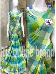 Look elegantly Stylish in the traditional Indian Multi Colored Beautiful Linen Cotton Saree from the grab and pack Designer collection. The exquisite range of sarees from the collection is great choice of outfit for party wear. Cotton Saree Blouse Designs, Saree Blouse Patterns, Fancy Blouse Designs, Designer Blouse Patterns, Dress Neck Designs, Sari Bluse, Checks Saree, Stylish Blouse Design, Anarkali