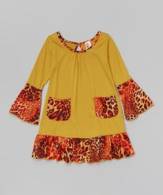 Look what I found on #zulily! Yellow Leopard Ruffle Dress - Toddler & Girls by Just Kids #zulilyfinds