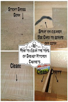 How to Clean the Tops of Greasy Kitchen Cabinets - featured on the Party On The Porch: Hints, How-Tos, Recipes and more