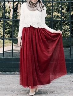 Maroon Tulle Maxi Skirt