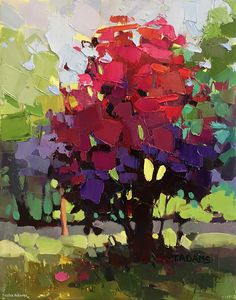 Susan's Red Tree by Trisha Adams Oil ~ 14 x 11 Art Floral, Landscape Art, Landscape Paintings, Abstract Tree Painting, Abstract Trees, Abstract Portrait, Portrait Paintings, Acrylic Paintings, Art Paintings