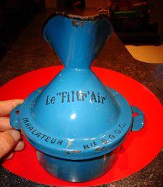 Ancien Inhalateur Médical en Tôle émaillée Bleue LE FILTR AIR ( Médecine Santé )