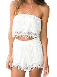 Amazon.com: Choies Women's White Strapless Crochet Detail Off Shoulder Crop Top And Shorts: Clothing