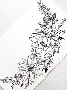 Tattoo Drawings 49989 Floral Tattoo Designs for the Season – lilostyle Beautiful Flower Drawings, Flower Art Drawing, Flower Tattoo Drawings, Small Flower Tattoos, Flower Sketches, Tattoo Sketches, Tattoo Flowers, Drawing Sketches, Drawing Art