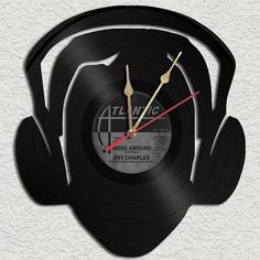 DJ Head Vinyl Record clock Upcycled vinyl records Great Gift on Etsy, $29.88