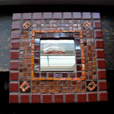Margaret Almon's Mosaic Mirror in Red Brown and Orange