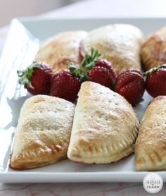 Strawberry Hand Pies - pie your can can carry around in your hand!? Yes, please! Love this homemade pie dessert recipe.