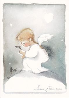 The work of Finnish artist Minna Immonen. Watercolor Cards, Watercolor Paintings, Angel Illustration, I Believe In Angels, Angels Among Us, Christmas Drawing, Guardian Angels, Angel Art, Christmas Angels