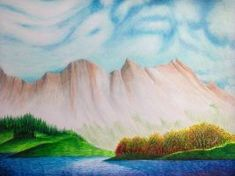 Scene from the Rockies (Drawing) - John-Baroque - Paintings & Prints Landscapes & Nature Forests Other Forests - ArtPal Baroque Painting, Forests, Landscapes, Scene, Paintings, Drawings, Nature, Prints, Art