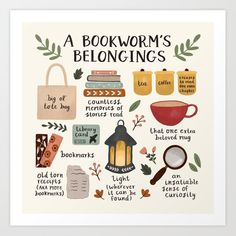 A Bookworm's Belongings Mini Art Print by ohjessmarie Reading Library, Library Card, Reading Time, I Love Books, Books To Read, Anne Of Green Gables, Thing 1, Book Worms, Book Lovers