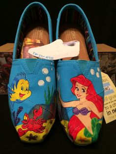 Custom Designed Little Mermaid Hand Painted TOMS - Products - Shoes Pretty Shoes, Cute Shoes, Me Too Shoes, Cheap Toms Shoes, Toms Shoes Outlet, Hand Painted Toms, Painted Shoes, Painted Canvas, Disney Poster