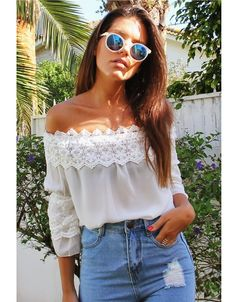 White off the shoulder shirt high waist blue jean shorts