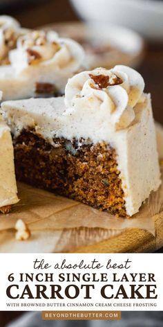 Carrot Cake Bundt, Moist Carrot Cakes, Pecan Cake, Single Layer Carrot Cake Recipe, Layer Cake Recipes, Frosting Recipes, Mini Desserts, Just Desserts, Dessert Recipes