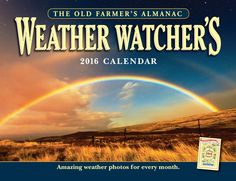 """Keep an eye on the sky! Perfect for weather enthusiasts and nature lovers, this calendar offers spectacular full-color images that depict the beauty and wonder of weather, including stunning cloud formations, ice, and sunsets. Each month features a weather history fact, a weather question answered by the """"Old Farmer,"""" and a timeless weather proverb."""
