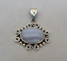 "2"" LONG MEXICO CII STERLING SILVER BLUE LACE AGATE ORNATE PENDANT 15.3 GRAMS"