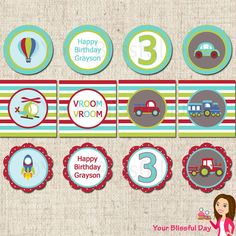PRINTABLE Transportation Party Circles (Personalized)