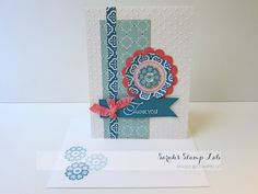 Paper: Card Stock: Whisper White, Island Indigo, Strawberry Slush, Pool Party Ink: Island Indigo, Strawberry Slush, Versamark Accessories:...