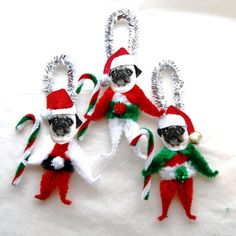 Chenille Dog Christmas Ornaments Pug by Hauntedswampdesigns Dog Christmas Ornaments, Christmas Dog, Christmas Decorations, Holiday Decor, Pugs, Feather Tree, Diy Weihnachten, Etsy Vintage, Diy Projects