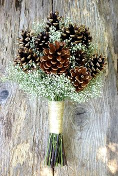Items similar to Winter Wedding Pine Cone and Dried Baby's Breath Bouquet - Winter Snow Bridal Bouquet - Pine or Cedar Cone & Baby's Breath on Etsy Elegant Winter Wedding, Winter Wedding Flowers, Trendy Wedding, Perfect Wedding, Cozy Wedding, Wedding Store, Vintage Winter Weddings, Gypsy Wedding, Winter Bridal Bouquets