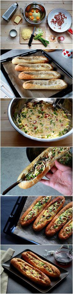 barcos de baguete = ovos, bacon, queijo e cebolinha. Misture tudo e asse ate derreter o queijo