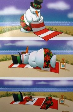 Melting Snowman Tropical Beach Christmas Holiday Boxed Greeting Cards #Sugartree #Christmas