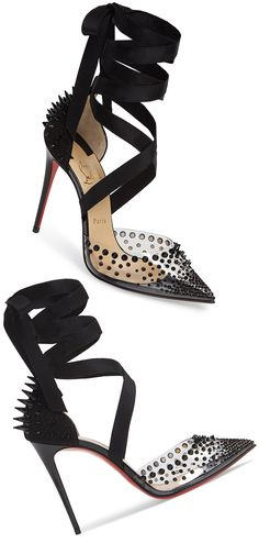 Louboutin  Mechante Reine Ankle Wrap Pump in Black. Sexy High Heel Black Shoes. See through with Long Spike studs and ribbon ankle ties. Christian Louboutin Shoes. #shoesday #shoefetish #shoeaddict #fashionista #fashion #valentines #valentineday #giftshorher #affiliayelink
