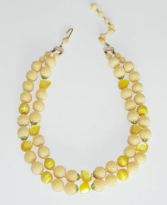 Vintage Citron Moonglow Lucite and Sugar Bead Double Strand Necklace | eBay