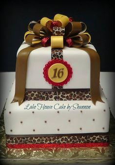 Sweet 16 Sixteen Cheetah Print Brown Red Loop Bow Glitter Gold Lake House Cake by Shannon Luxury Wedding Cake, Wedding Cakes, House Cake, Sweet 16 Parties, Business Pages, Awesome Cakes, Sweet Sixteen, Party Cakes, Cheetah Print